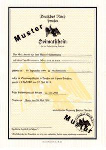 Heimatschein MUSTER (Vorderseite) aktuelle Version