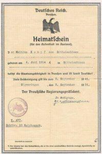 Heimatschein Preußen Original 1931