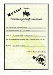 Staatsangehörigkeitsausweis MUSTER Vorderseite (aktuelle Version)